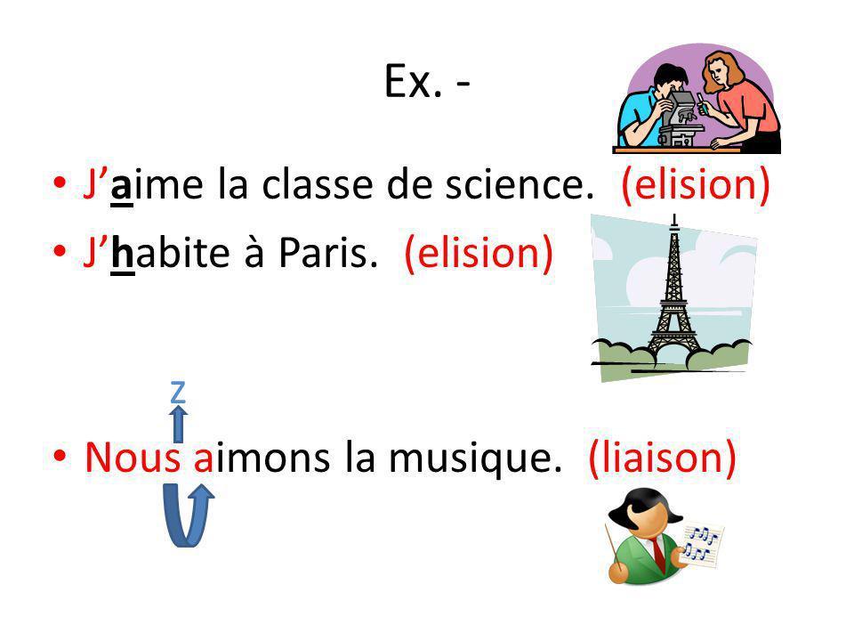 Ex.- Jaime la classe de science. (elision) Jhabite à Paris.