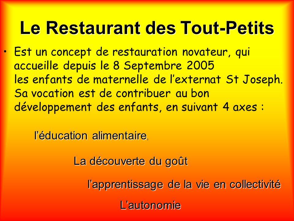 Le Restaurant des Tout-Petits Est un concept de restauration novateur, qui accueille depuis le 8 Septembre 2005 les enfants de maternelle de lexternat St Joseph.
