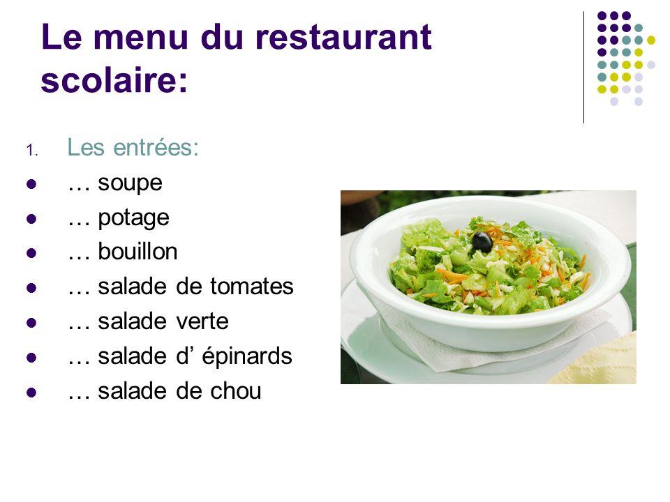 Le menu du restaurant scolaire: 1. Les entrées: … soupe … potage … bouillon … salade de tomates … salade verte … salade d épinards … salade de chou