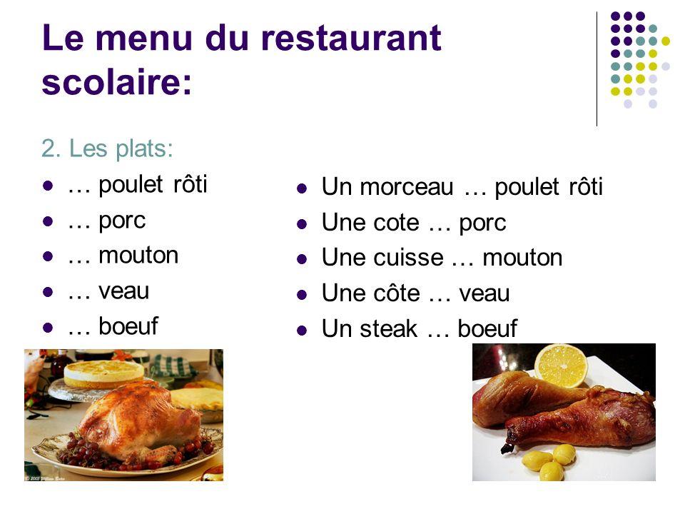 Le menu du restaurant scolaire: 2. Les plats: … poulet rôti … porc … mouton … veau … boeuf Un morceau … poulet rôti Une cote … porc Une cuisse … mouto