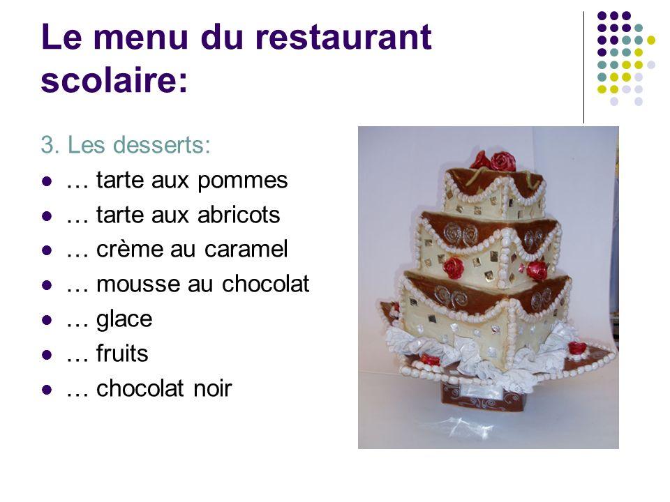 Le menu du restaurant scolaire: 3. Les desserts: … tarte aux pommes … tarte aux abricots … crème au caramel … mousse au chocolat … glace … fruits … ch