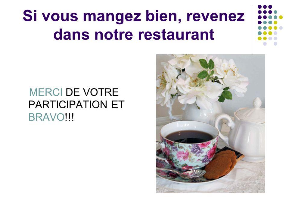 Si vous mangez bien, revenez dans notre restaurant MERCI DE VOTRE PARTICIPATION ET BRAVO!!!