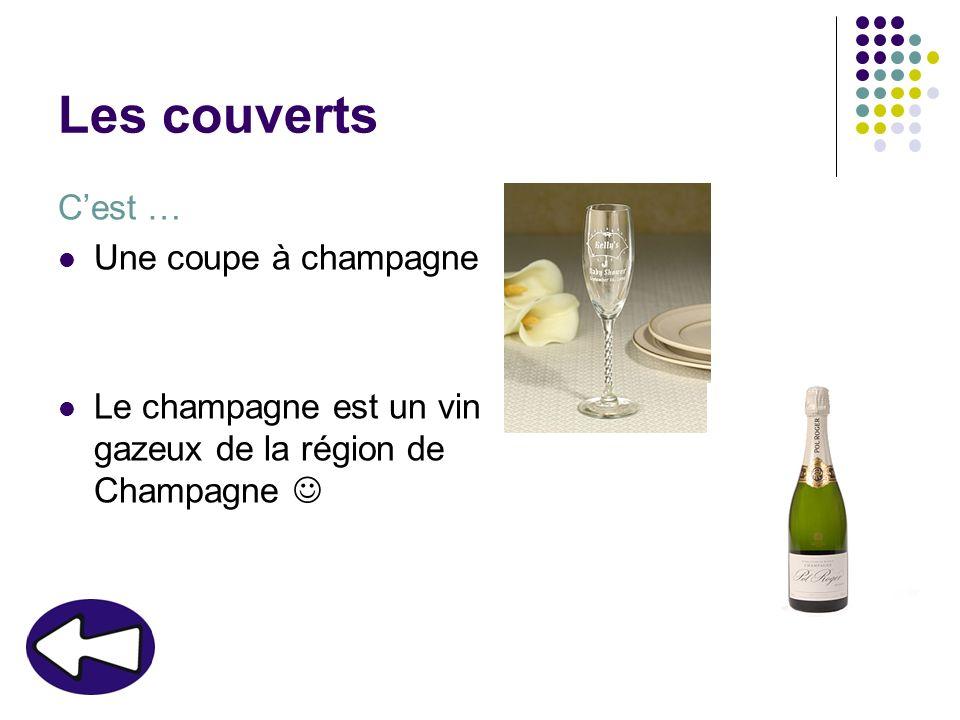 Les couverts Cest … Une coupe à champagne Le champagne est un vin gazeux de la région de Champagne