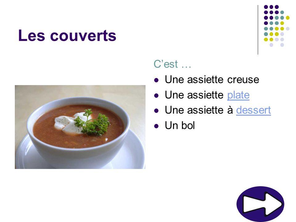 Les couverts Cest … Une assiette creuse Une assiette plateplate Une assiette à dessertdessert Un bol