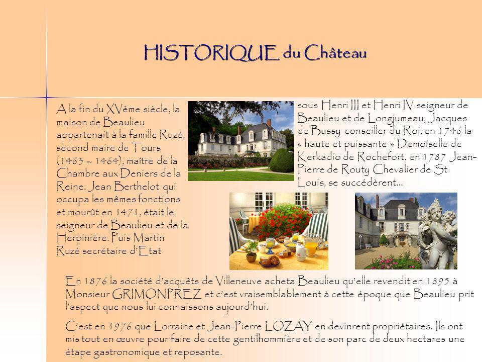 HISTORIQUE du Château En 1876 la société dacquêts de Villeneuve acheta Beaulieu quelle revendit en 1895 à Monsieur GRIMONPREZ et cest vraisemblablemen