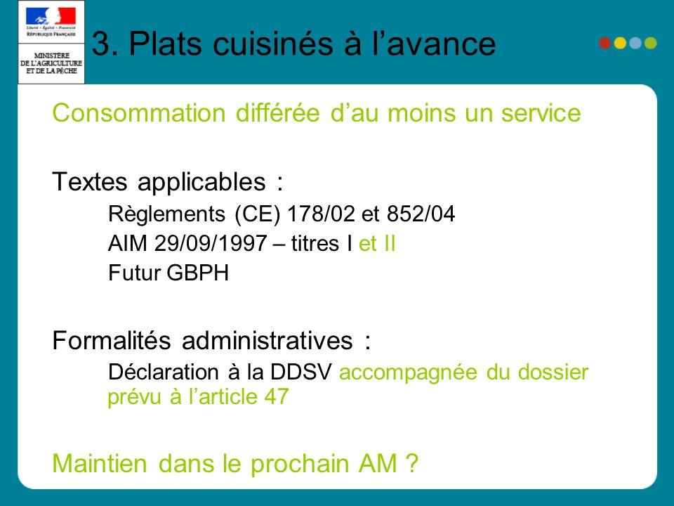 3. Plats cuisinés à lavance Consommation différée dau moins un service Textes applicables : Règlements (CE) 178/02 et 852/04 AIM 29/09/1997 – titres I