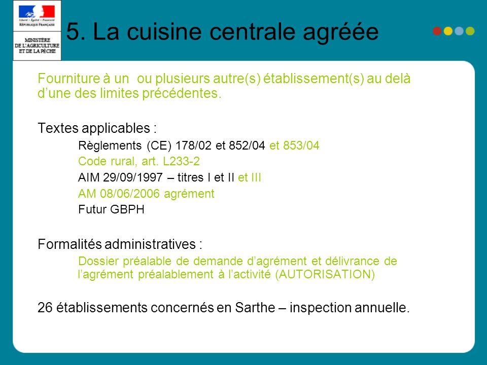5. La cuisine centrale agréée Fourniture à un ou plusieurs autre(s) établissement(s) au delà dune des limites précédentes. Textes applicables : Règlem