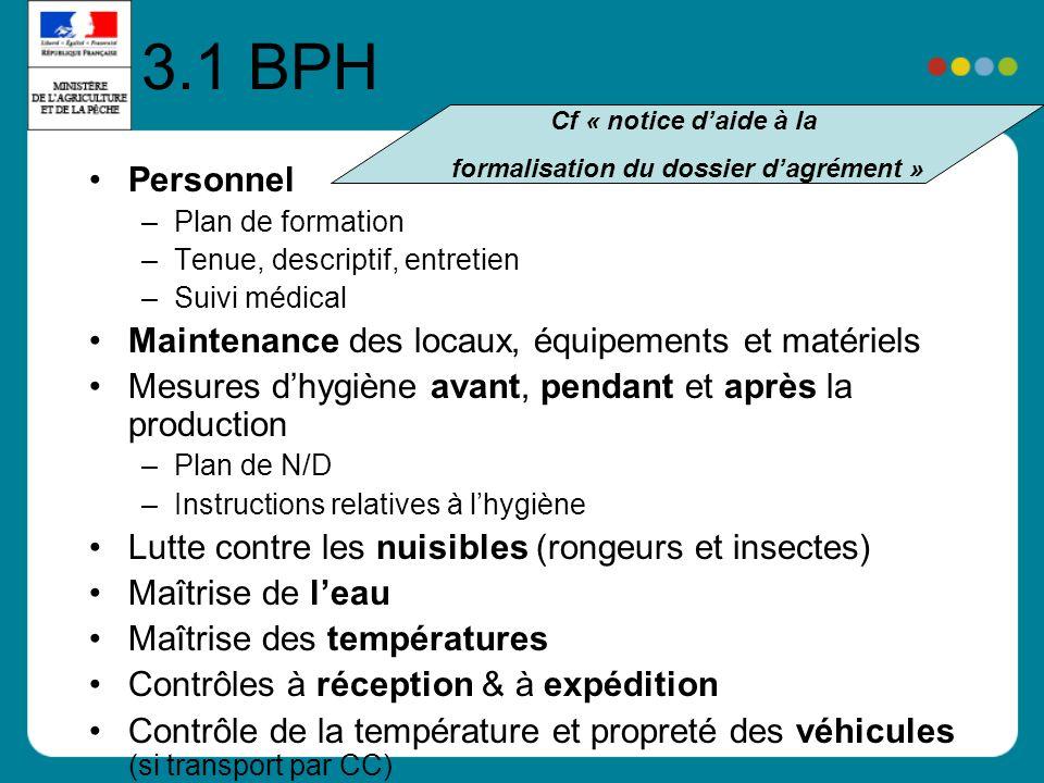 3.1 BPH Personnel –Plan de formation –Tenue, descriptif, entretien –Suivi médical Maintenance des locaux, équipements et matériels Mesures dhygiène av