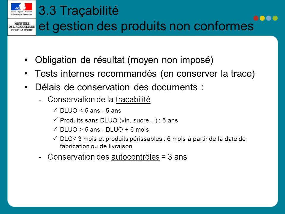 3.3 Traçabilité et gestion des produits non conformes Obligation de résultat (moyen non imposé) Tests internes recommandés (en conserver la trace) Dél