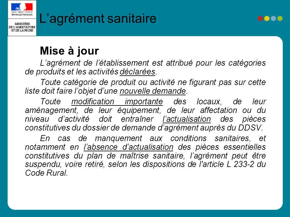 Mise à jour Lagrément de létablissement est attribué pour les catégories de produits et les activités déclarées.