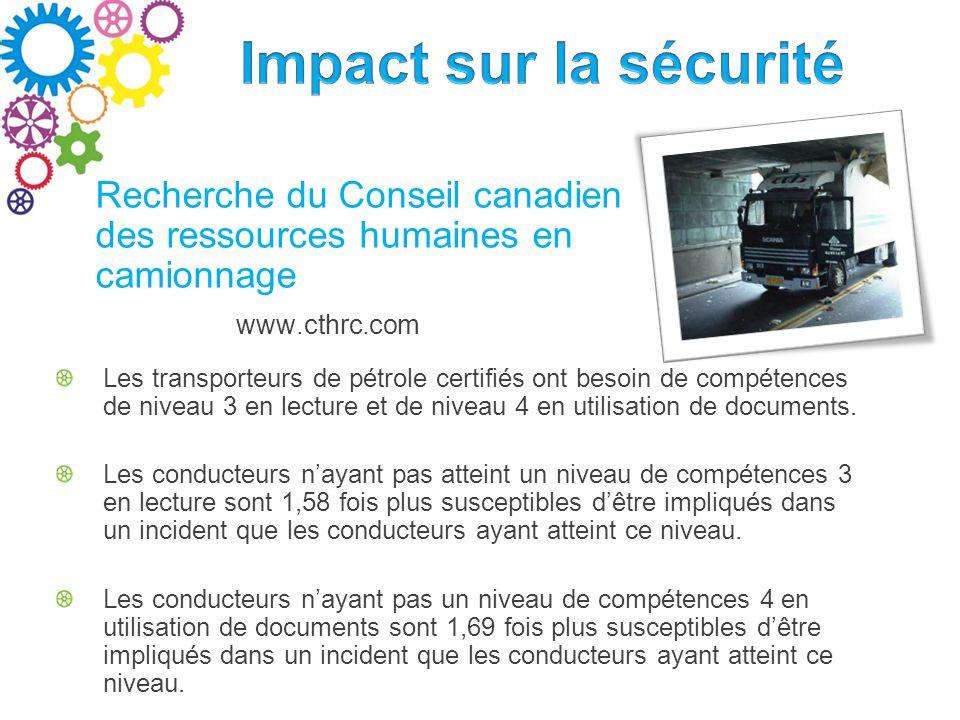 www.cthrc.com Recherche du Conseil canadien des ressources humaines en camionnage Les transporteurs de pétrole certifiés ont besoin de compétences de niveau 3 en lecture et de niveau 4 en utilisation de documents.