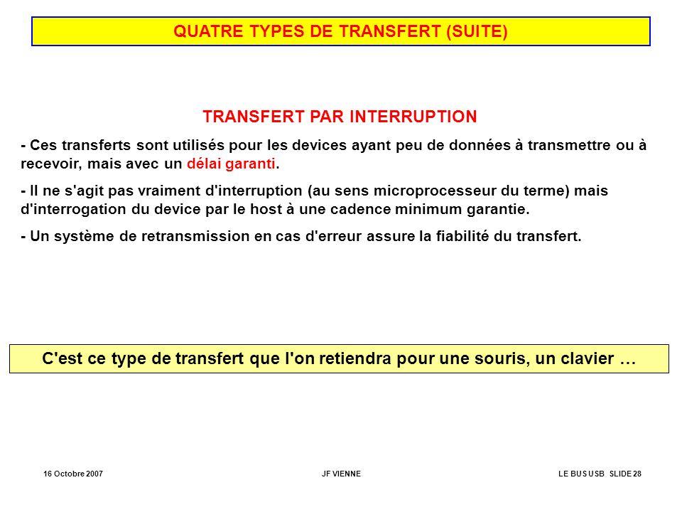 16 Octobre 2007JF VIENNELE BUS USB SLIDE 28 QUATRE TYPES DE TRANSFERT (SUITE) TRANSFERT PAR INTERRUPTION - Ces transferts sont utilisés pour les devic