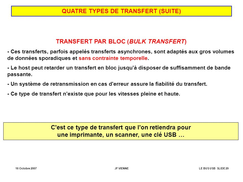 16 Octobre 2007JF VIENNELE BUS USB SLIDE 29 QUATRE TYPES DE TRANSFERT (SUITE) TRANSFERT PAR BLOC (BULK TRANSFERT) - Ces transferts, parfois appelés tr