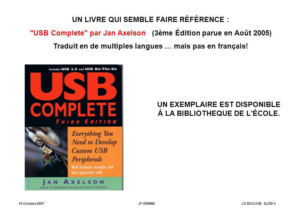 16 Octobre 2007JF VIENNELE BUS USB SLIDE 5 ARCHITECTURE DU BUS USB PC HOST CONTROLLER ROOT HUB Par ex.
