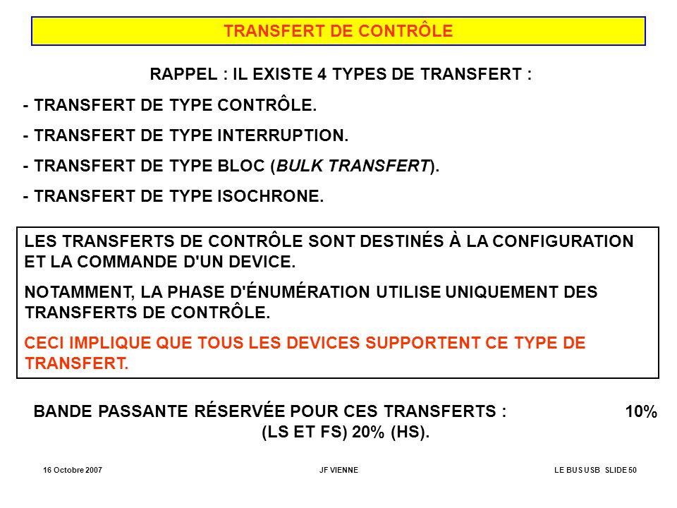 16 Octobre 2007JF VIENNELE BUS USB SLIDE 50 TRANSFERT DE CONTRÔLE RAPPEL : IL EXISTE 4 TYPES DE TRANSFERT : - TRANSFERT DE TYPE CONTRÔLE. - TRANSFERT