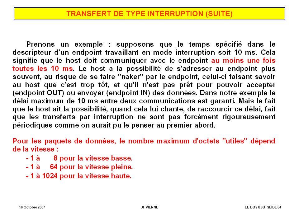 16 Octobre 2007JF VIENNELE BUS USB SLIDE 64 TRANSFERT DE TYPE INTERRUPTION (SUITE)