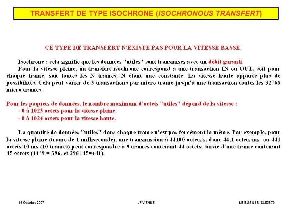 16 Octobre 2007JF VIENNELE BUS USB SLIDE 70 TRANSFERT DE TYPE ISOCHRONE (ISOCHRONOUS TRANSFERT)