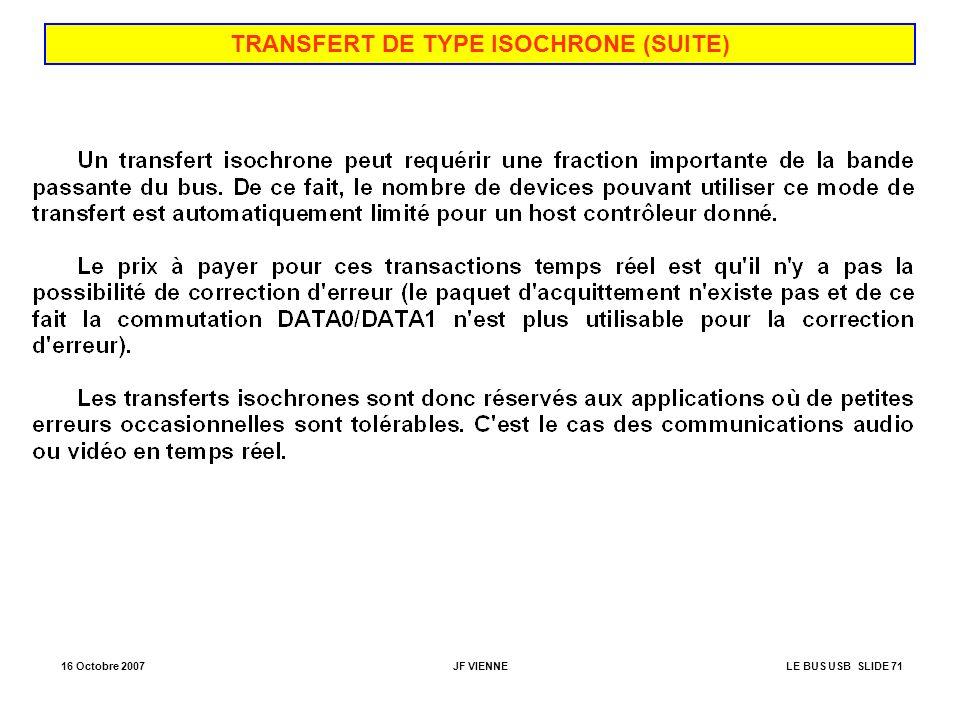16 Octobre 2007JF VIENNELE BUS USB SLIDE 71 TRANSFERT DE TYPE ISOCHRONE (SUITE)