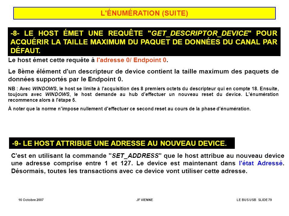 16 Octobre 2007JF VIENNELE BUS USB SLIDE 79 L'ÉNUMÉRATION (SUITE) -8- LE HOST ÉMET UNE REQUÊTE