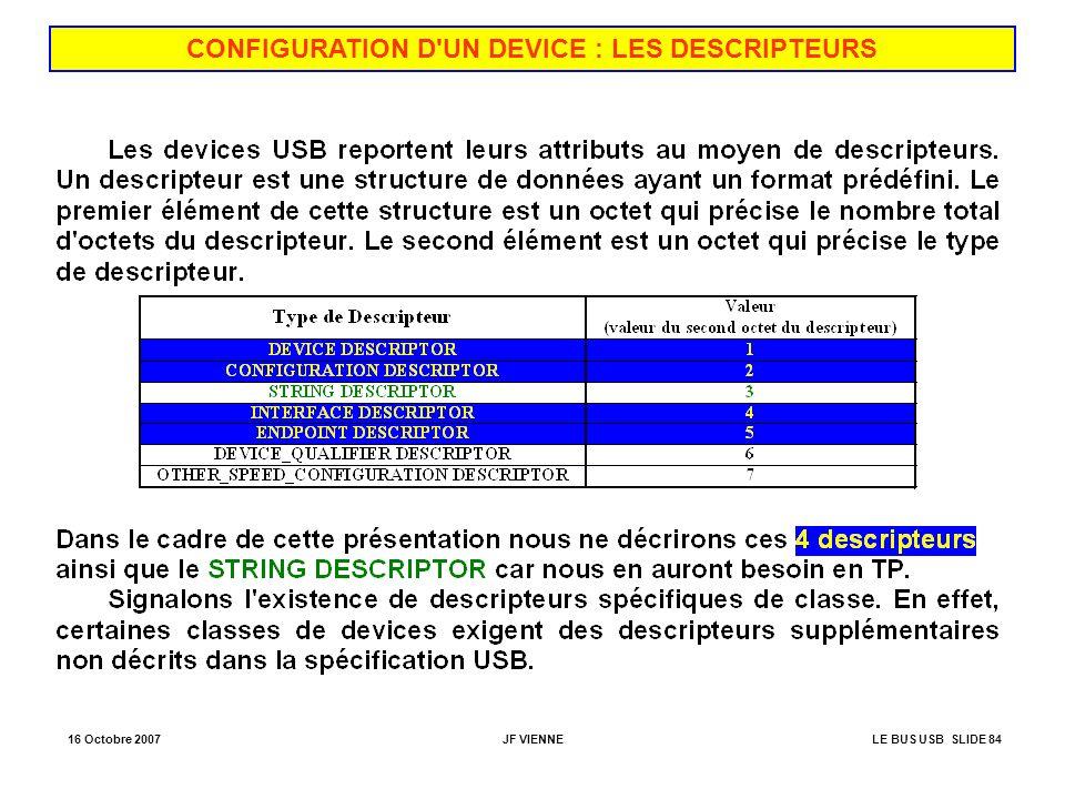 16 Octobre 2007JF VIENNELE BUS USB SLIDE 84 CONFIGURATION D'UN DEVICE : LES DESCRIPTEURS