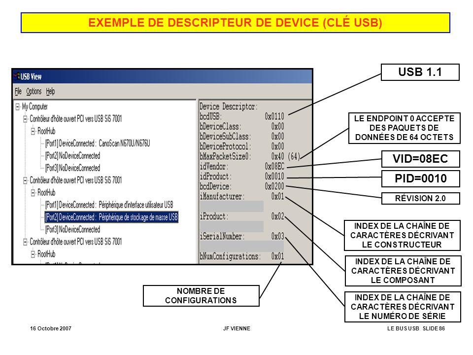 16 Octobre 2007JF VIENNELE BUS USB SLIDE 86 EXEMPLE DE DESCRIPTEUR DE DEVICE (CLÉ USB) USB 1.1 LE ENDPOINT 0 ACCEPTE DES PAQUETS DE DONNÉES DE 64 OCTE
