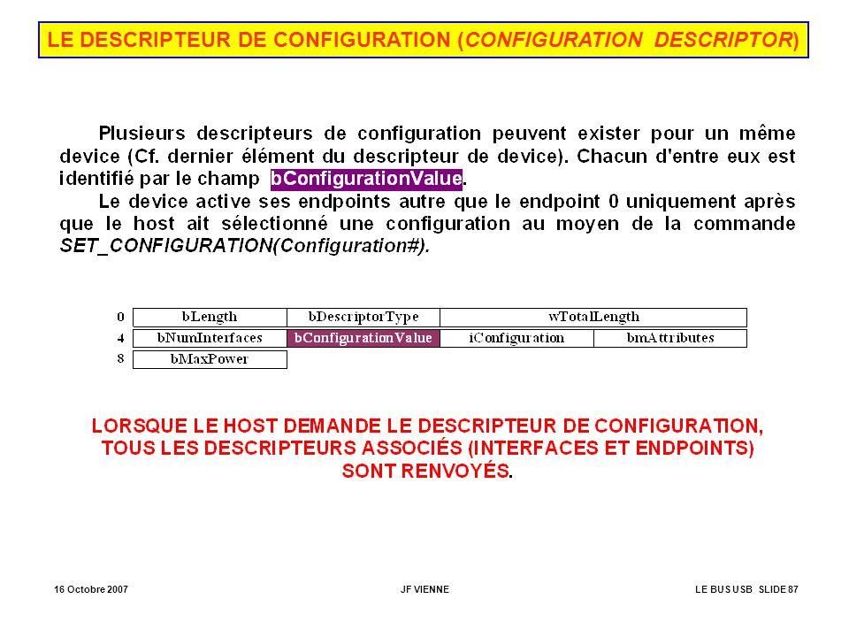16 Octobre 2007JF VIENNELE BUS USB SLIDE 87 LE DESCRIPTEUR DE CONFIGURATION (CONFIGURATION DESCRIPTOR)