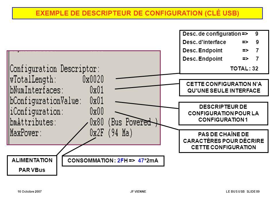 16 Octobre 2007JF VIENNELE BUS USB SLIDE 89 EXEMPLE DE DESCRIPTEUR DE CONFIGURATION (CLÉ USB) Desc. de configuration => 9 Desc. d'interface => 9 Desc.