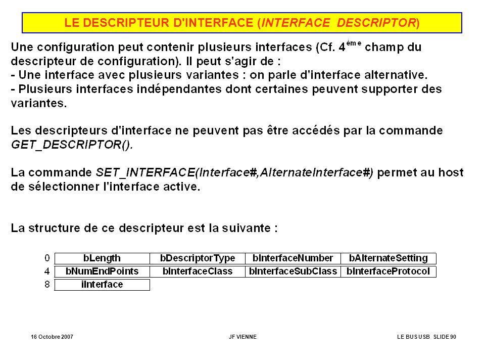 16 Octobre 2007JF VIENNELE BUS USB SLIDE 90 LE DESCRIPTEUR D'INTERFACE (INTERFACE DESCRIPTOR)