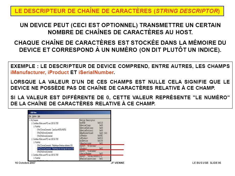 16 Octobre 2007JF VIENNELE BUS USB SLIDE 95 LE DESCRIPTEUR DE CHAÎNE DE CARACTÈRES (STRING DESCRIPTOR) UN DEVICE PEUT (CECI EST OPTIONNEL) TRANSMETTRE