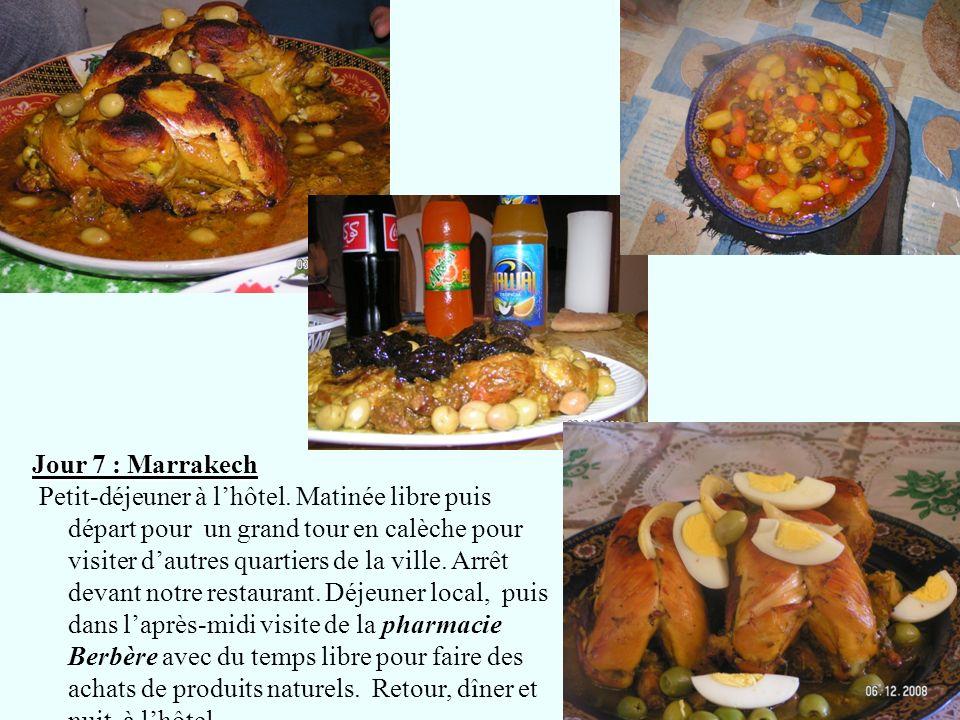 Jour 7 : Marrakech Petit-déjeuner à lhôtel. Matinée libre puis départ pour un grand tour en calèche pour visiter dautres quartiers de la ville. Arrêt