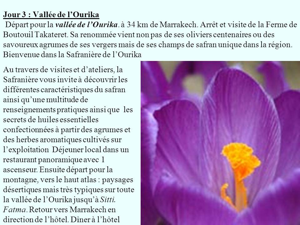 Jour 3 : Vallée de lOurika Départ pour la vallée de lOurika. à 34 km de Marrakech. Arrêt et visite de la Ferme de Boutouil Takateret. Sa renommée vien