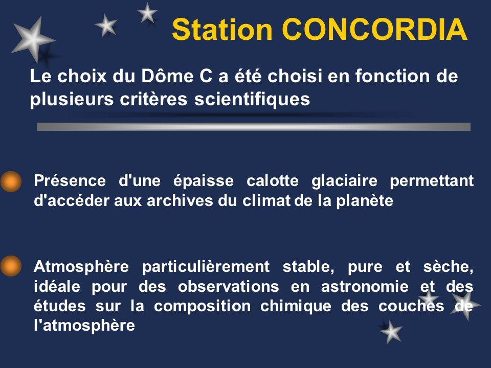 Station CONCORDIA Présence d'une épaisse calotte glaciaire permettant d'accéder aux archives du climat de la planète Atmosphère particulièrement stabl