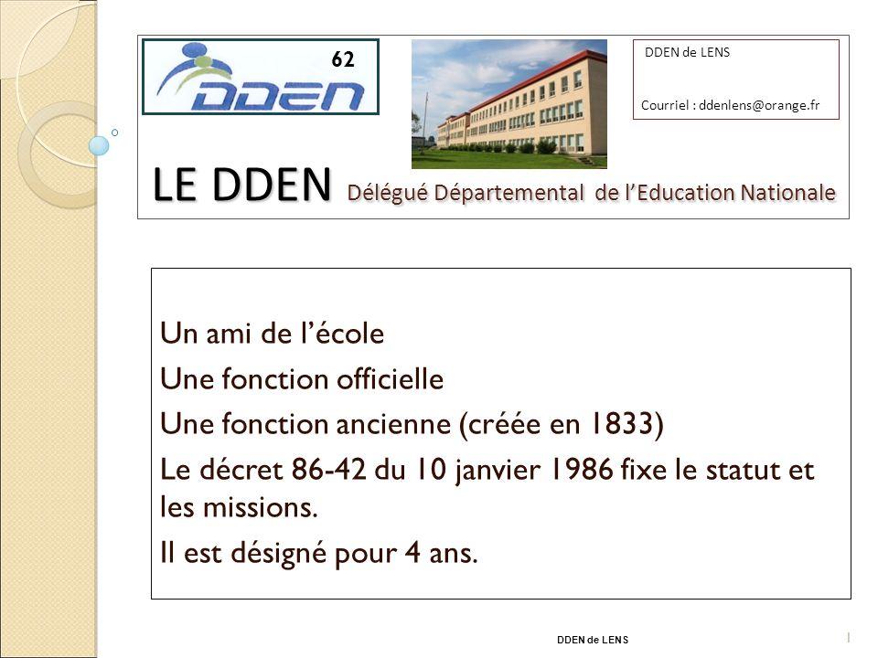 87 LE DDEN Délégué Départemental de lEducation Nationale Un ami de lécole Une fonction officielle Une fonction ancienne (créée en 1833) Le décret 86-42 du 10 janvier 1986 fixe le statut et les missions.