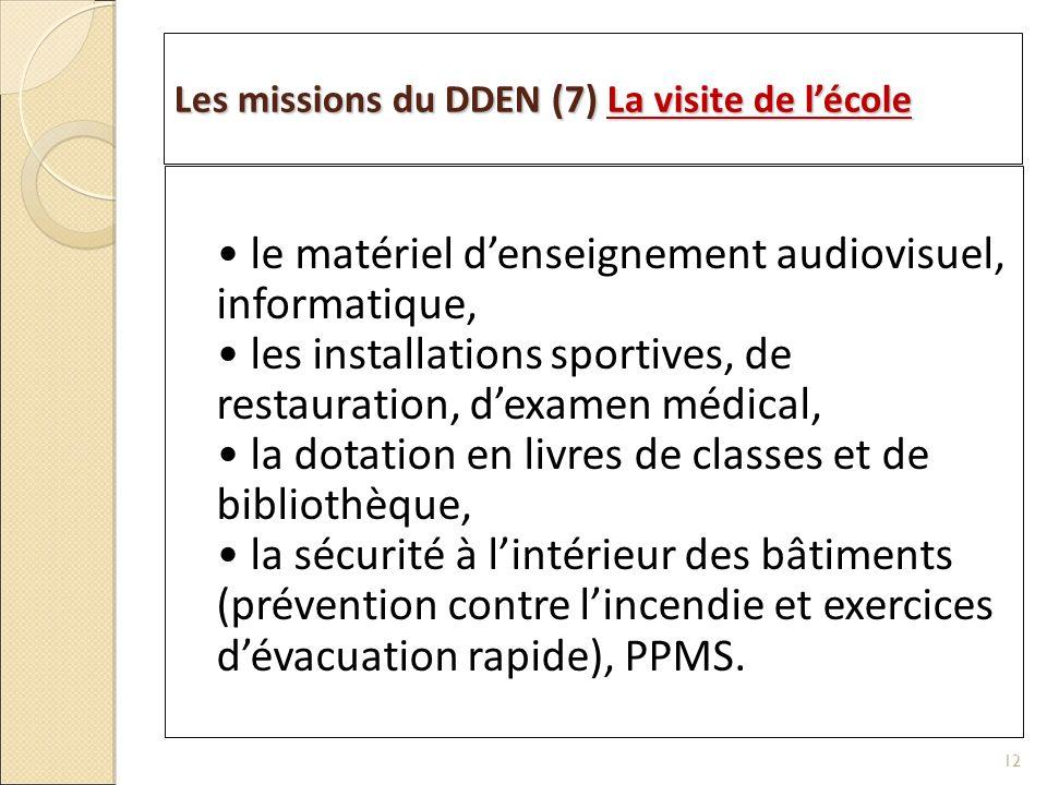 Les missions du DDEN (7) La visite de lécole le matériel denseignement audiovisuel, informatique, les installations sportives, de restauration, dexame