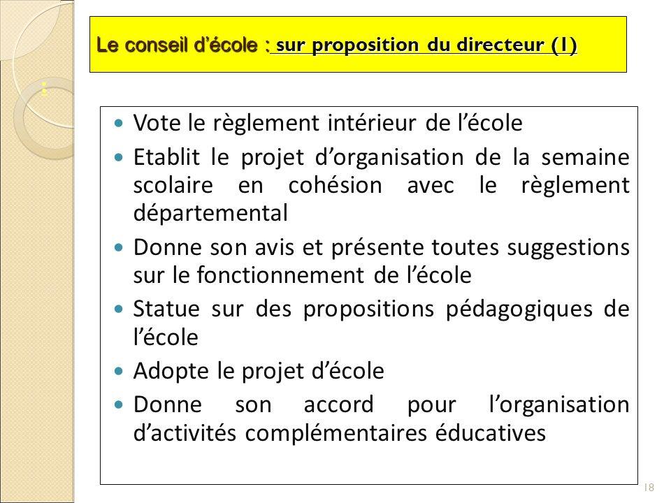 Le conseil décole : sur proposition du directeur (1) Vote le règlement intérieur de lécole Etablit le projet dorganisation de la semaine scolaire en c
