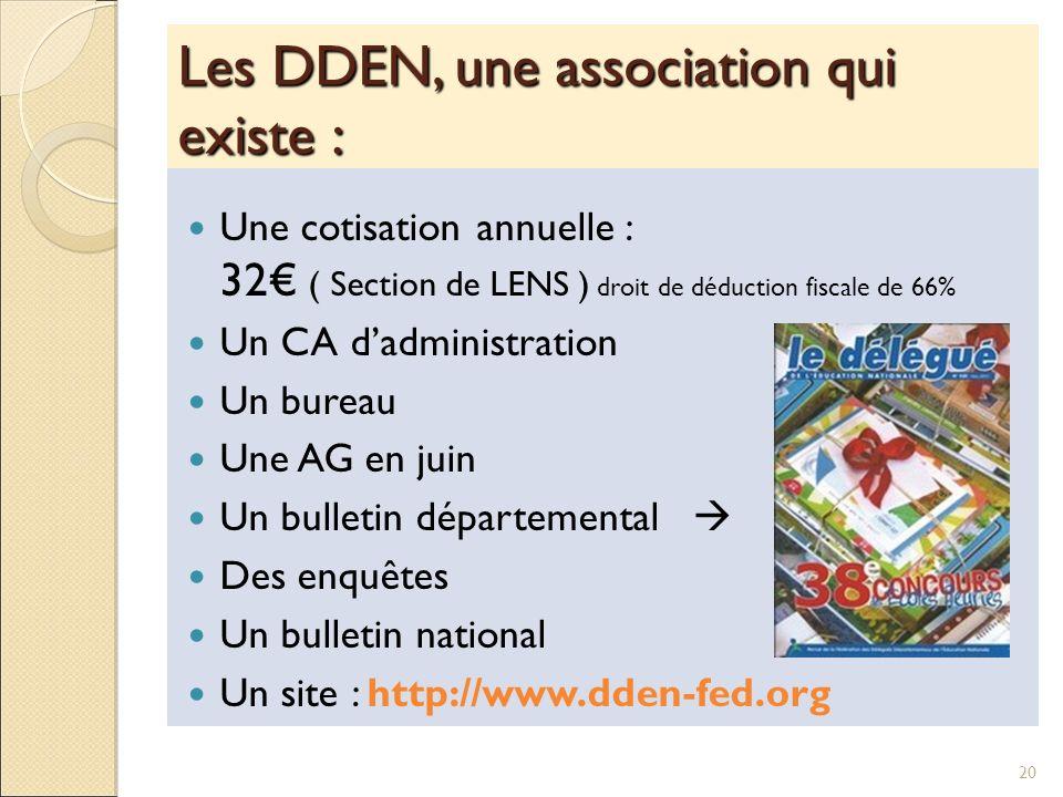 Les DDEN, une association qui existe : Une cotisation annuelle : 32 ( Section de LENS ) droit de déduction fiscale de 66% Un CA dadministration Un bur