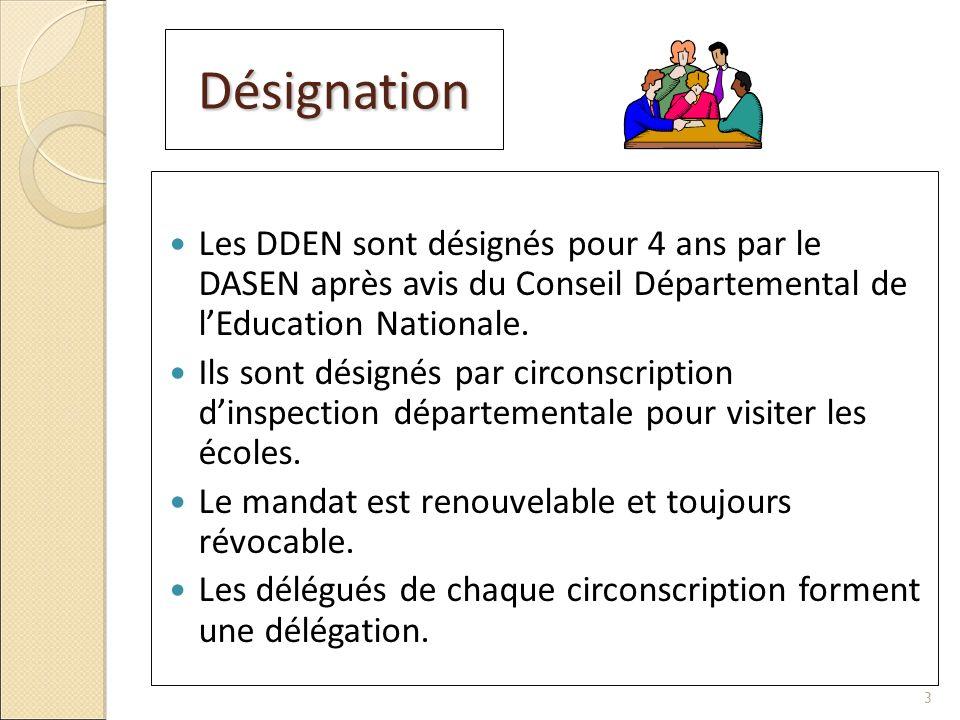 Désignation Les DDEN sont désignés pour 4 ans par le DASEN après avis du Conseil Départemental de lEducation Nationale. Ils sont désignés par circonsc