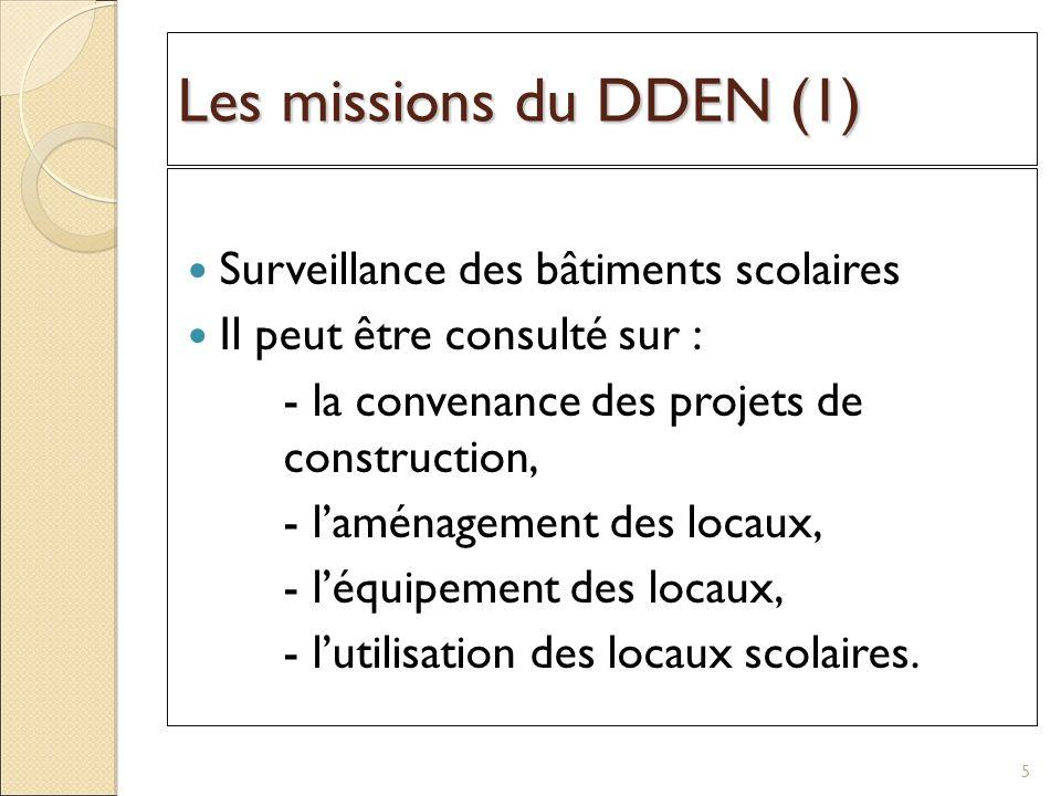 Les missions du DDEN (1) Surveillance des bâtiments scolaires Il peut être consulté sur : - la convenance des projets de construction, - laménagement des locaux, - léquipement des locaux, - lutilisation des locaux scolaires.