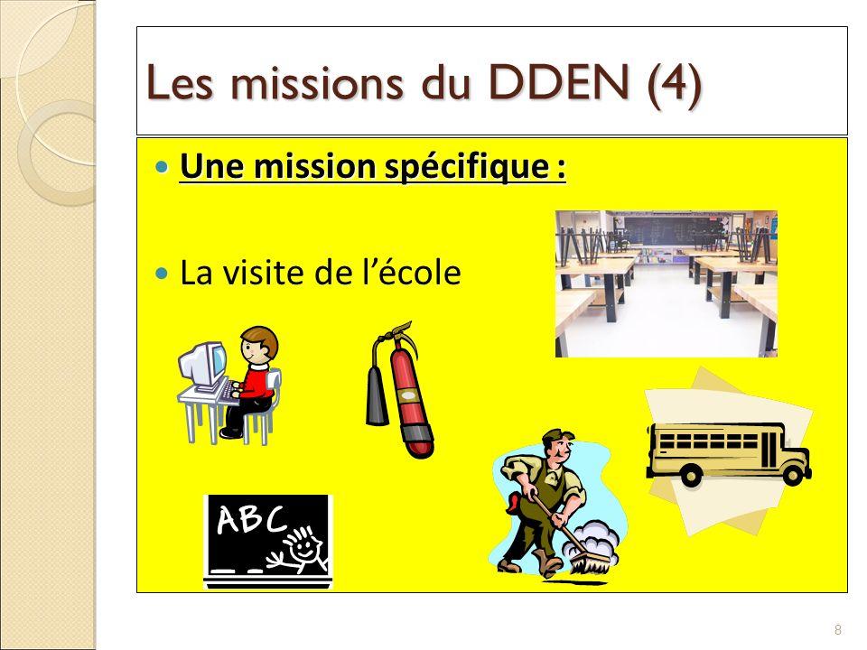Les missions du DDEN (4) Une mission spécifique : Une mission spécifique : La visite de lécole 8