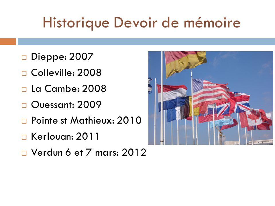 Historique Devoir de mémoire Dieppe: 2007 Colleville: 2008 La Cambe: 2008 Ouessant: 2009 Pointe st Mathieux: 2010 Kerlouan: 2011 Verdun 6 et 7 mars: 2012