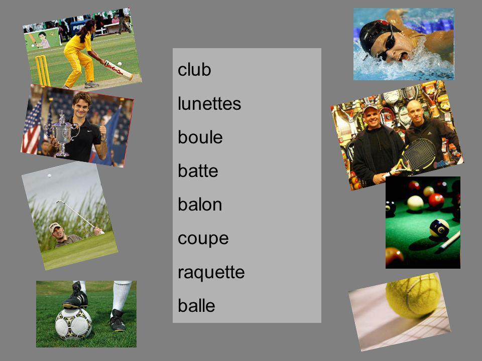 club lunettes boule batte balon coupe raquette balle