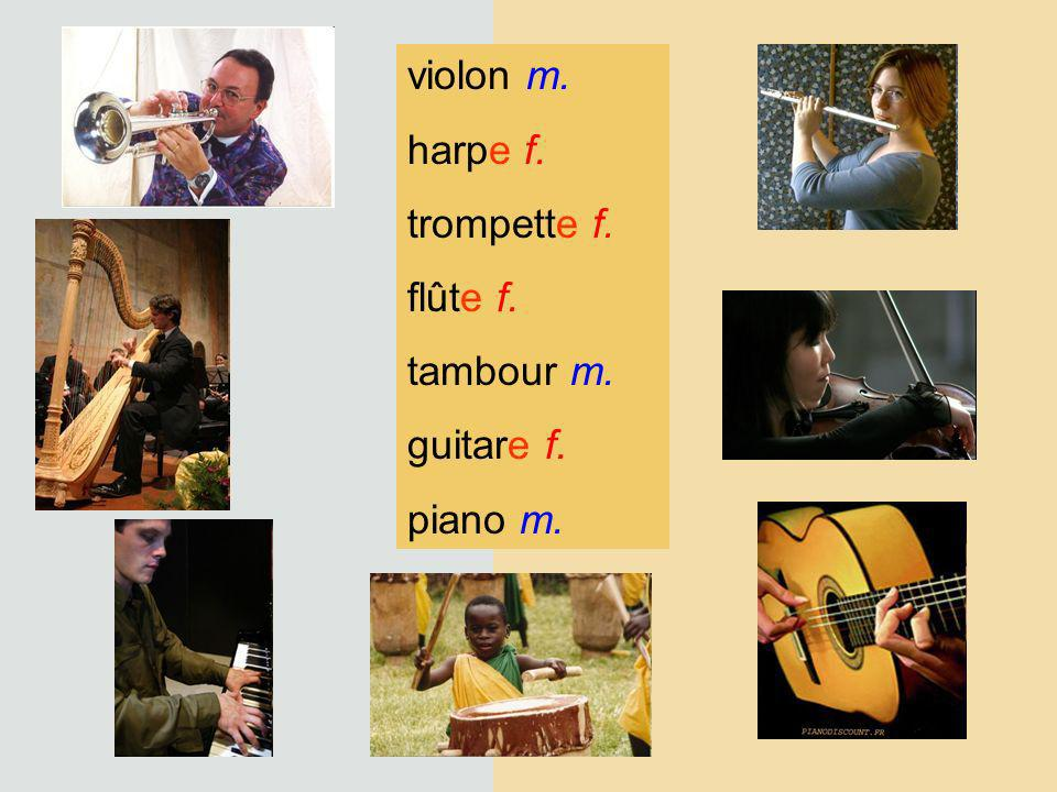 violon m. harpe f. trompette f. flûte f. tambour m. guitare f. piano m.