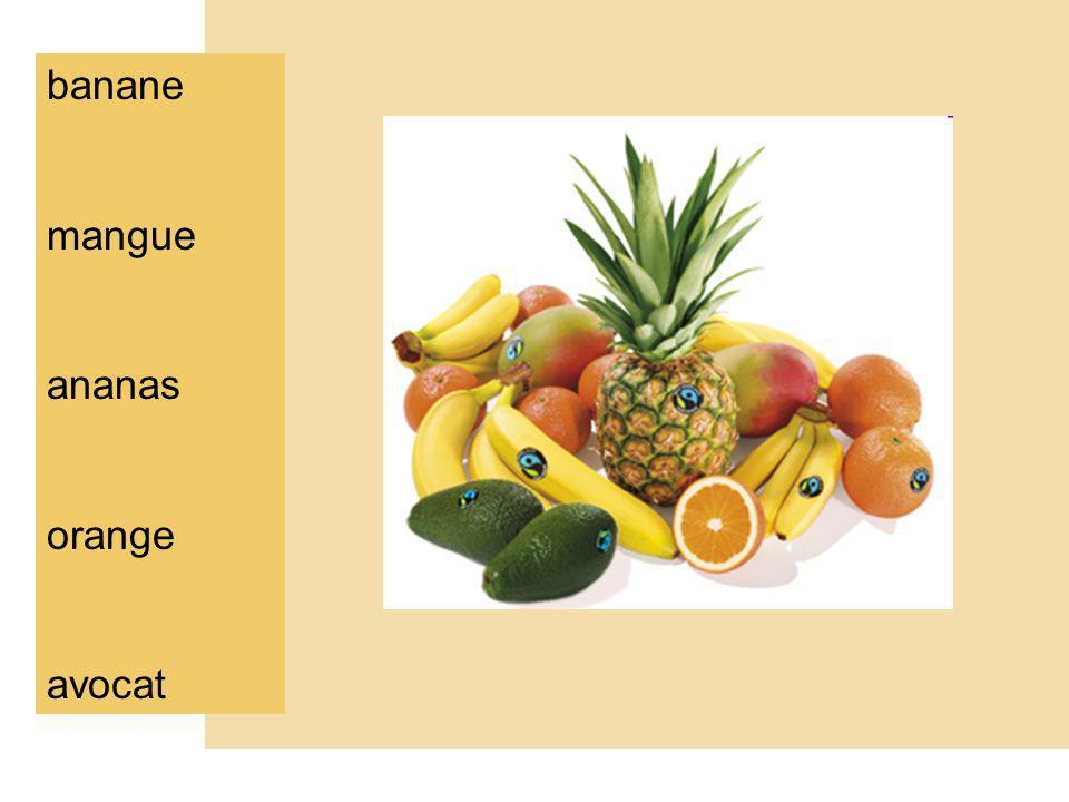 banane f. mangue f. ananas m. orange f. avocat m.