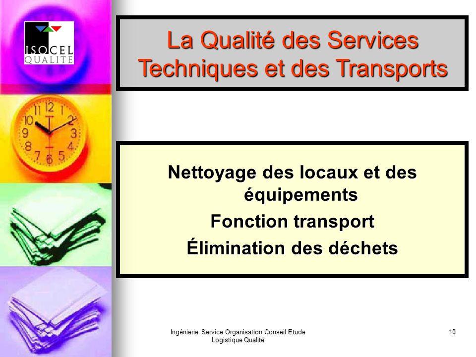 Ingénierie Service Organisation Conseil Etude Logistique Qualité 10 La Qualité des Services Techniques et des Transports Nettoyage des locaux et des équipements Fonction transport Élimination des déchets