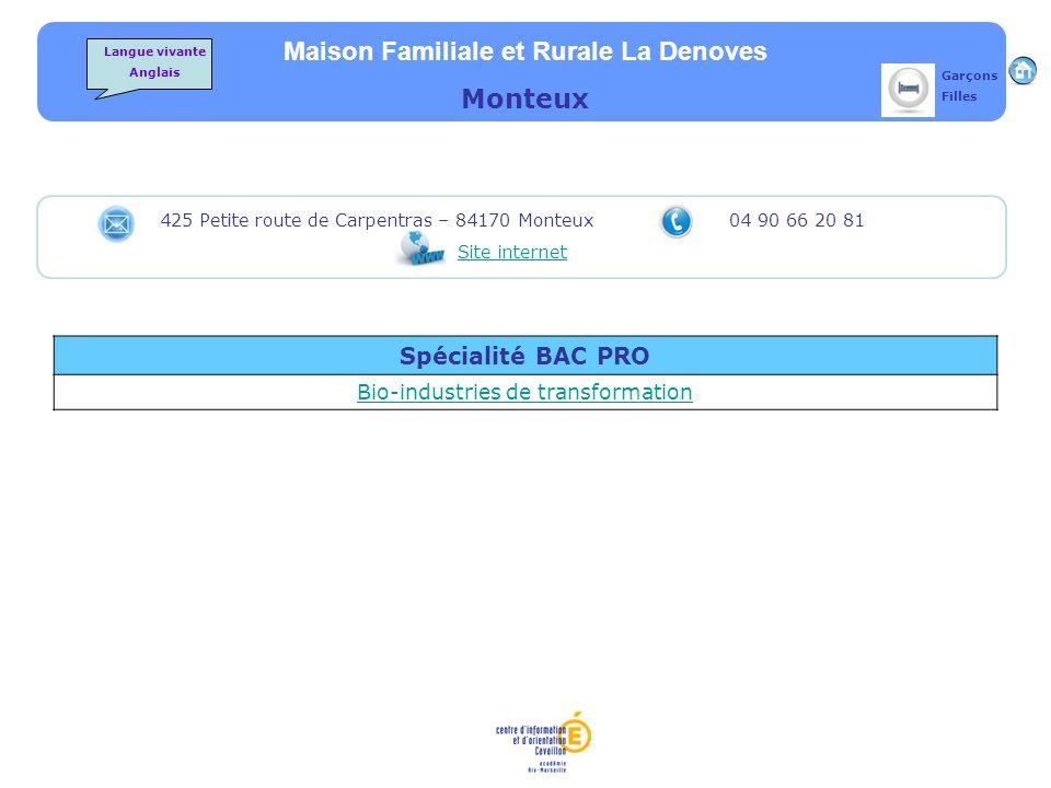 Maison Familiale et Rurale La Denoves Monteux Spécialité BAC PRO Bio-industries de transformation 425 Petite route de Carpentras – 84170 Monteux 04 90