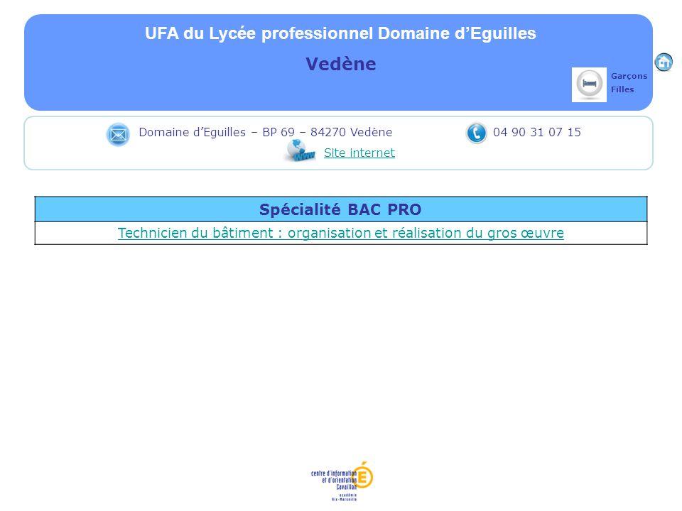 UFA du Lycée professionnel Domaine dEguilles Vedène Spécialité BAC PRO Technicien du bâtiment : organisation et réalisation du gros œuvre Domaine dEgu