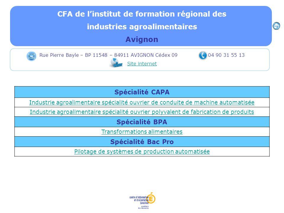 CFA de linstitut de formation régional des industries agroalimentaires Avignon Spécialité CAPA Industrie agroalimentaire spécialité ouvrier de conduit