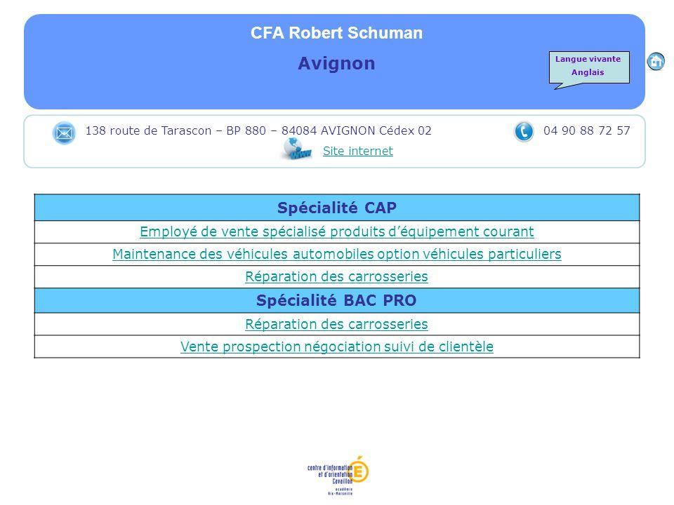 CFA Robert Schuman Avignon Spécialité CAP Employé de vente spécialisé produits déquipement courant Maintenance des véhicules automobiles option véhicu