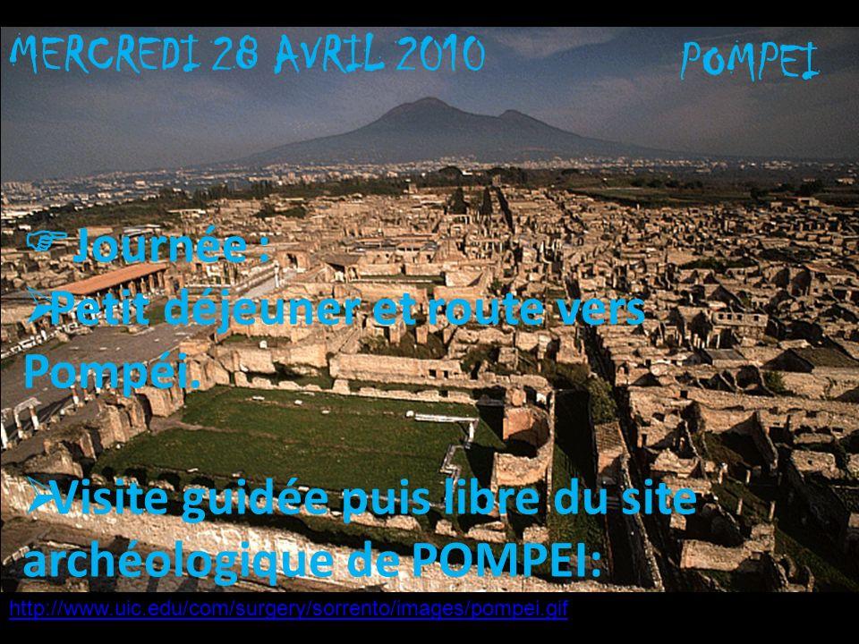 MERCREDI 28 AVRIL 2010 POMPEI Journée : Petit déjeuner et route vers Pompéi. Visite guidée puis libre du site archéologique de POMPEI: http://www.uic.