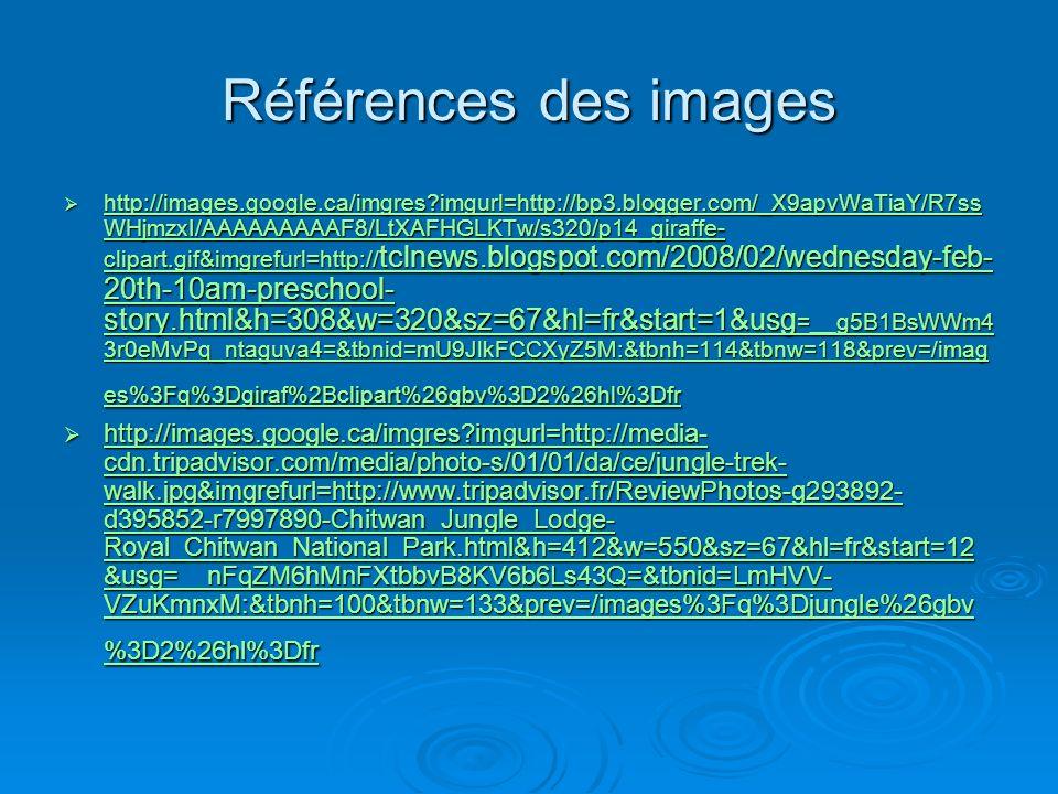 Références des images http://images.google.ca/imgres?imgurl=http://bp3.blogger.com/_X9apvWaTiaY/R7ss WHjmzxI/AAAAAAAAAF8/LtXAFHGLKTw/s320/p14_giraffe-
